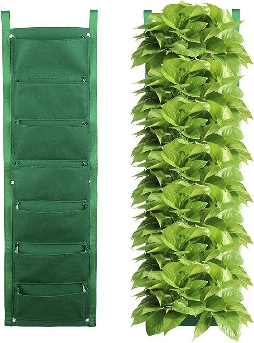 JYCRA - Maceta vertical para jardín, 7 bolsillos, para colgar en la pared, color verde: Amazon.es: Jardín