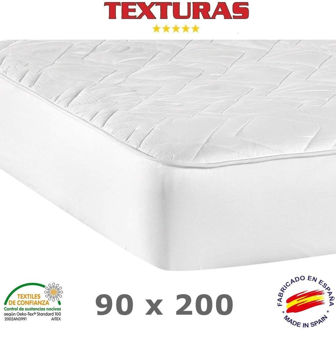 TEXTURAS BASICS - Protector de Colchón ACOLCHADO de microfibra para Hotel y Apartamentos ECONOMY (Varios tamaños disponibles)  (90_x_190_cm): Amazon.es: ...