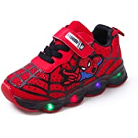 Fashion SpiderMan Children Shoes With LED Light Luminous Sport Kids Sneakers Glowing for Baby Boys Girls