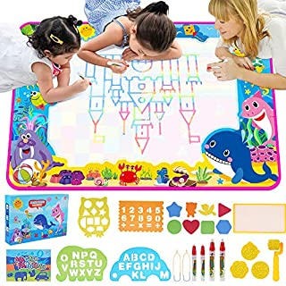 ESDPAL Aqua Magic Doodle Mat 60 X 40 inches Extra Large Water Drawing Mat Coloring Mat Educational Toys Gifts for Toddlers Kids Boys Girls Age 3 4 5 6 7 8 Year Old