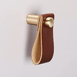 12 Pack Leather Handles goldenwarm Leather Drawer Pulls Small Brushed Gold Knob - LS9215GD Handmade Leather Cabinet Pulls Modern Dresser Drawer Hardware