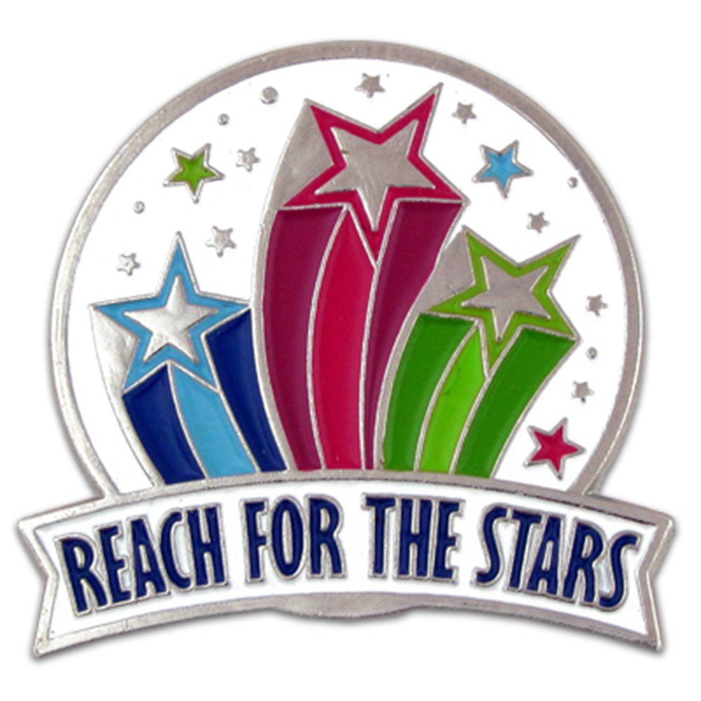 PinMart's Reach For The Stars Modivational Enamel Lapel Pin by PinMart
