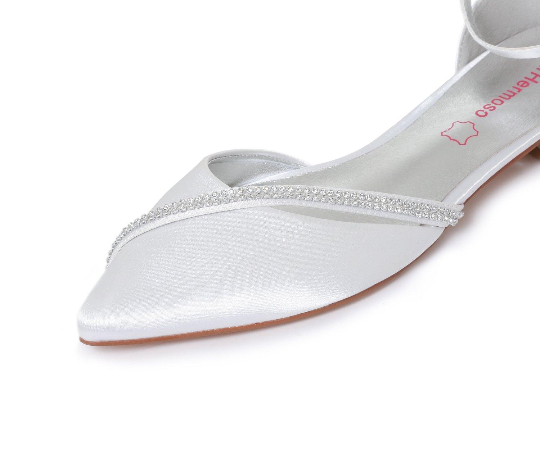 MarHermoso Damen Elegante Ballerinas Satin Ankle Brautschuhe Strap Abendschuhe Brautschuhe Ankle Weiß d07426