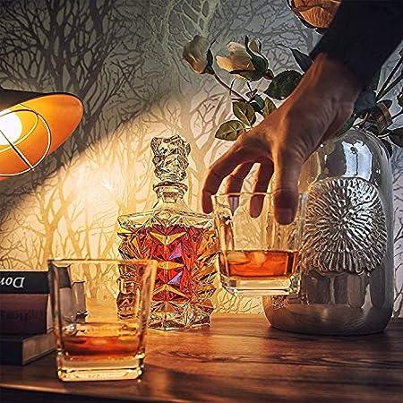 KEKEYANG Decantador de Whisky de Oro de Lujo - Regalos para Hombres, él, papá - 850 ml Decantador de Whisky decantador de Licor de Cristal para Bourbon, Whisky o Whisky Licorera