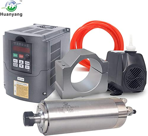 VFD CNC Spindle Motor Kits 110V 2.2KW VFD 110V 2.2KW 4 bearings Water Cooled Spindle Motor 110V 75W Water Pump 80mm Motor Clamp Mount 5m Water Pipe 110V-2.2KW VFD 2.2kw 4 bearings motor