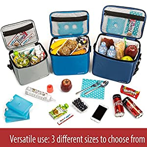Set of 3 Soft Cooler Thermal Bags For Men Women Adult Boy Kids Reusable Insulated Bags For Lunch Food Travel Picnic Work Office Camp Beach Bento Meal Prep Water Bottle Small Medium & Large