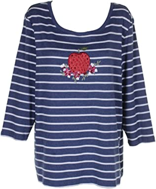 Karen Scott Plus Size Cotton Striped Applique Top