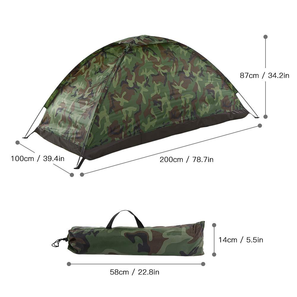 Godyluck Campingzelt f/ür 1 Person Einzelschicht Outdoor Tragbare Tarnung Reise Strand Zelt