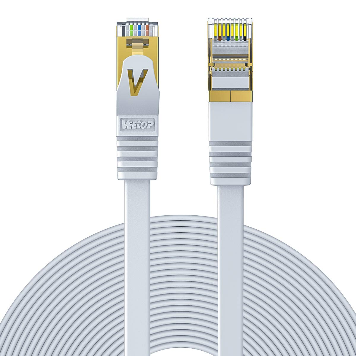 Best Rated In Ethernet Cables Helpful Customer Reviews Connector Wiring Veetop 5m 164ft Flat Cat7 High Speed 8gbps Rj45 Network Cable