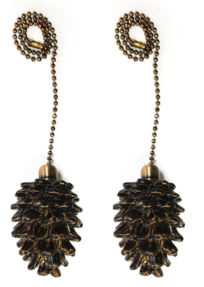 Royal Designs Fan Pull Chain – Pine Cone – Antique Brass – Set of 2