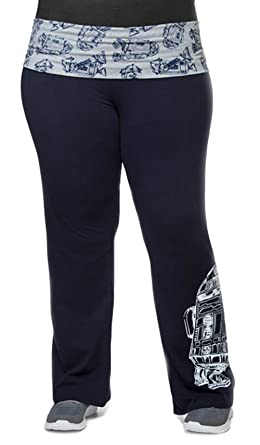 af2f6585c04 Mighty Fine Star Wars R2-D2 Navy Blue Yoga Pants Juniors Sizes and Plus Size