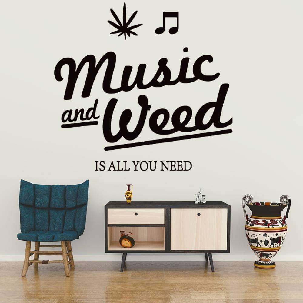 Tianpengyuanshuai Música y Marihuana Vinilo Adhesivos de Pared extraíbles Tatuajes de Pared habitación de los niños decoración del hogar 50X48cm