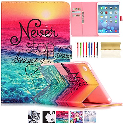iPad Air 2 Case-UUcovers Stand Wallet Case with Smart Cover Auto Sleep/Wake Feature for Apple iPad Air 2 (iPad 6) 2014 Model (Never Stop) - Ipad Air Gel Keyboard Case