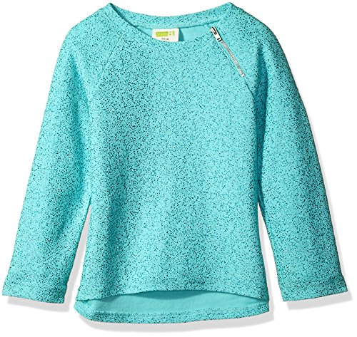Crazy 8 Little Girls' Long Sleeve High Low Sparkle Sweater, Aqua Splash, M (Sparkle Sweater Metallic)