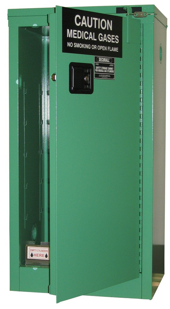SECURALL MG109FL Medical Gas Cylinder Storage Cabinet, 18-Gauge Steel, 2-Door, 44 x 23 x 18 in, 9-12 D,E Cylinder Capacity, 15 YR Warranty, Fire-Lined - MG Green