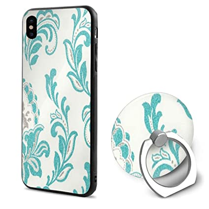 best authentic f4cb4 bf21f Amazon.com: Phone X Case Damask Tiffany Blue Ring Cell Phone Holder ...
