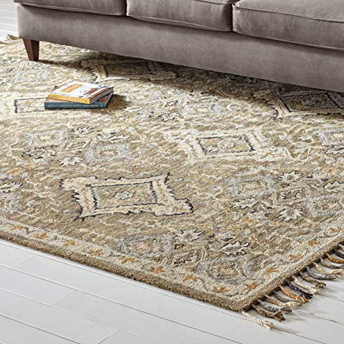 (Stone & Beam Vero Medallion Wool Area Rug, 4 x 6 Foot, Neutral Multi)