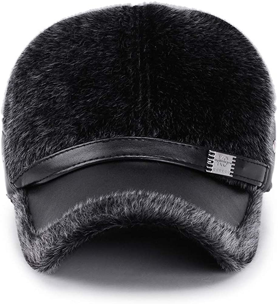 Mens Winter Artificial Mane Earmuffs Baseball Cap Middle-Aged Windproof Grandfather Peaked Hat