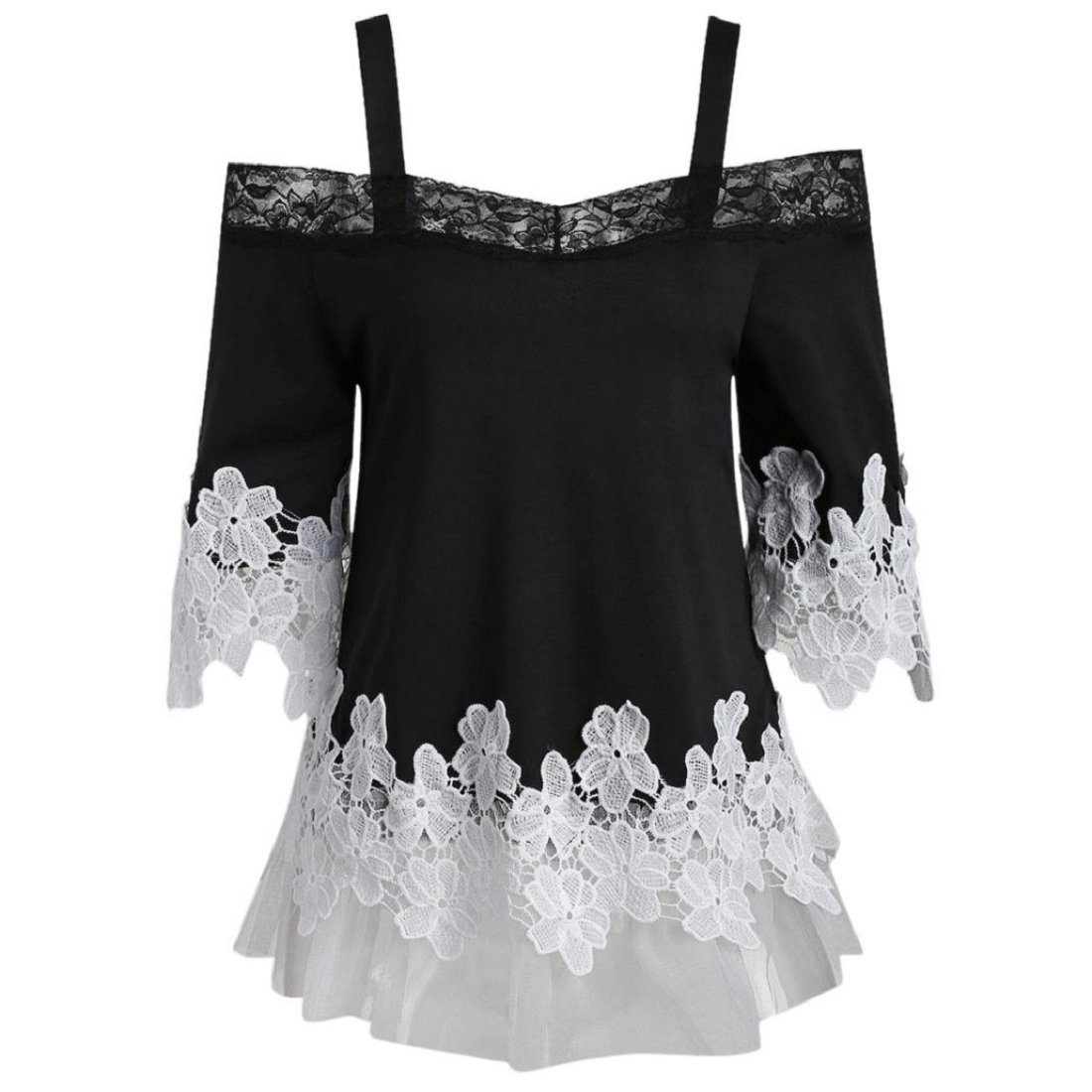 85a82eaae9634 Top14  Womens Off Shoulder Tops Casual Floral Applique Lace Blouse Shirts  T-Shirt Tops