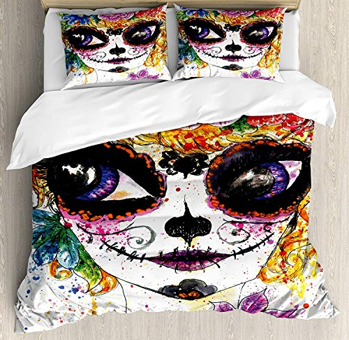 Duvet Cover Set Sugar Skull Decor Cultural Celebration Mexican Traditional Make Up Girl Face Watercolors Ultra Soft Breathable Durable Twill Plush 4 Pcs Bedding Sets for Kids/Teens/Adults Twin Size by BABE MAPS