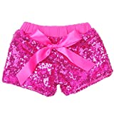 Cilucu Baby Girls Shorts Toddler Sequin Shorts Sparkles on Both Sides Hot Pink 6T