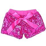 Cilucu Baby Girls Shorts Toddler Sequin Shorts Sparkles on Both Sides Hot Pink 12 Months