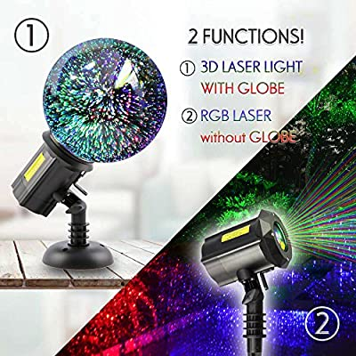 Poeland Multicolor Laser Lights Projector with 3D Glass Globe for Christmas and Holiday