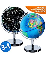 World Globe Illuminated Constellation World Globe for Kids - 3 in 1 Interactive Globe with Constellations, Light Up Smart Earth Globes of The World with Stand