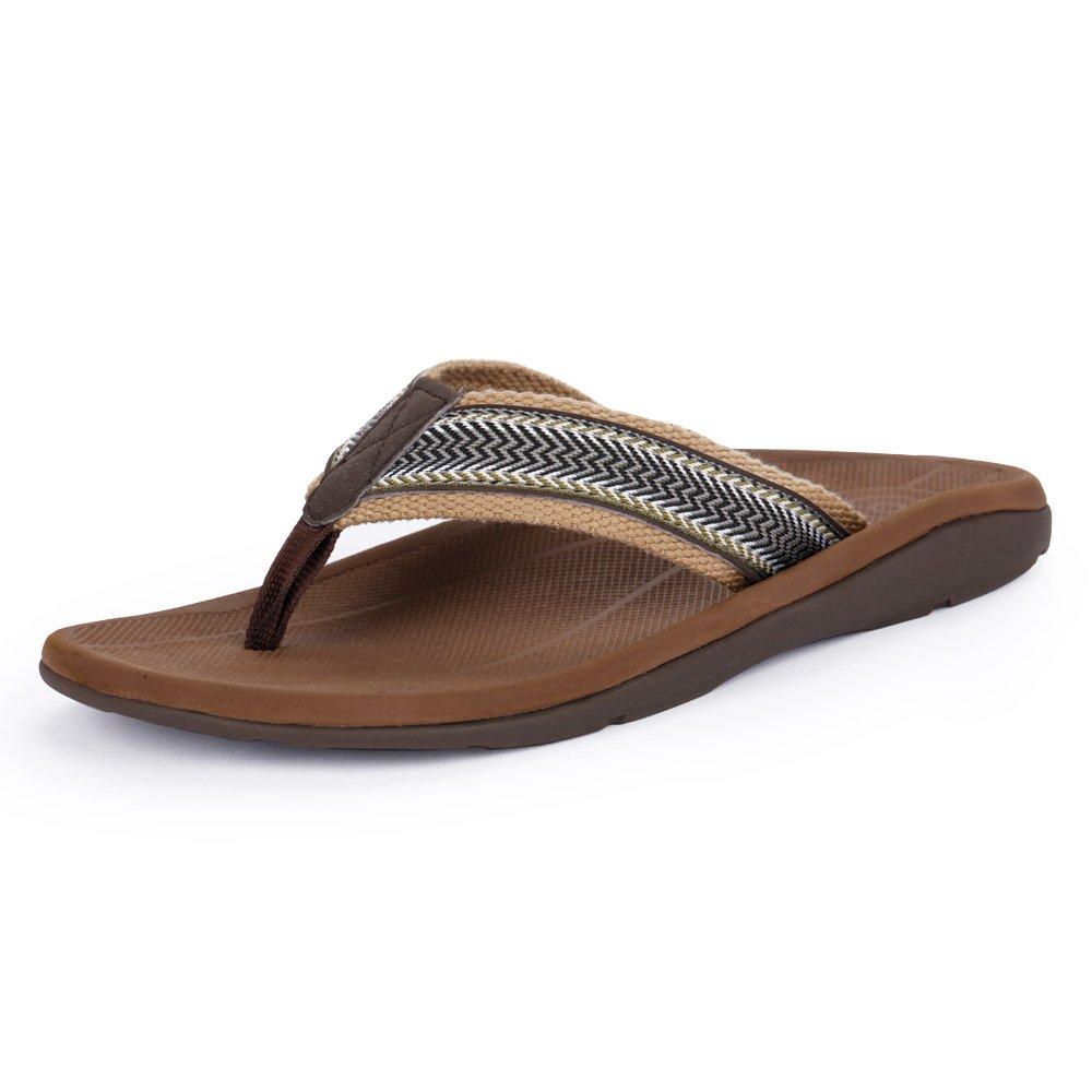 Sessom&Co Men's Arch Support Flip-Flops Outdoor Sandals Orthotics for Plantar Fasciitis & Flat Feet (Brown EUR 44) by Sessom&Co