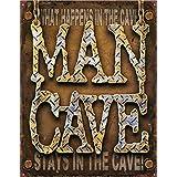 """Man Cave - Diamond Plate Metal Tin Sign 16\"""" X 12.5\"""" , 16x13"""