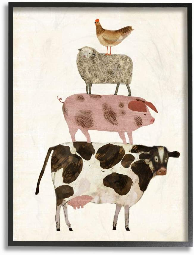 Stupell Industries Cow Sheep Pig and Chicken Barnyard Buds Stacked Farm Animals Black Framed Wall Art, 16 x 20, Design by Artist Victoria Borges