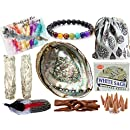 Smudge Kit Spiritual Gifts Set - Large Abalone Shell, Wood Stand, 2 - 4 White Sage Smudging Sticks, Sage Incense Cones, Feather, 7 Stone Chakra Bracelet (Unisex) - Complete Gift Set & Positive Vibes