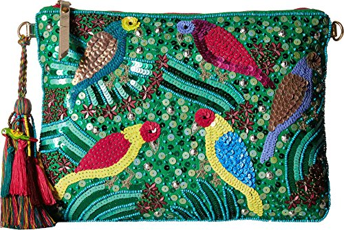 Betsey Johnson Green - Betsey Johnson Poolside Clutch Crossbody with Beads Sequins Gemotric Designs, Green