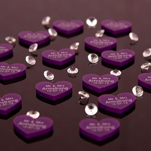 100 Purple Acrylic Wedding Table Decorations