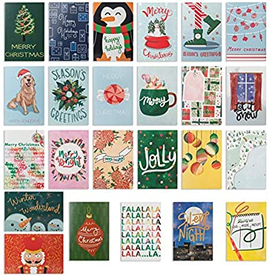 Amazon Com 24 Watercolor Christmas Cards Assorted Holiday Greeting Cards In 24 Unique Watercolor Designs Christmas Greeting Card Include 24 Kraft Envelopes Bulk Assorted Christmas Cards 4 X 6 Inches Office Products