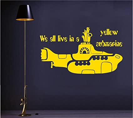 Amazon.com: We all live in a yellow submarine ver-2 vinyl wall art ...