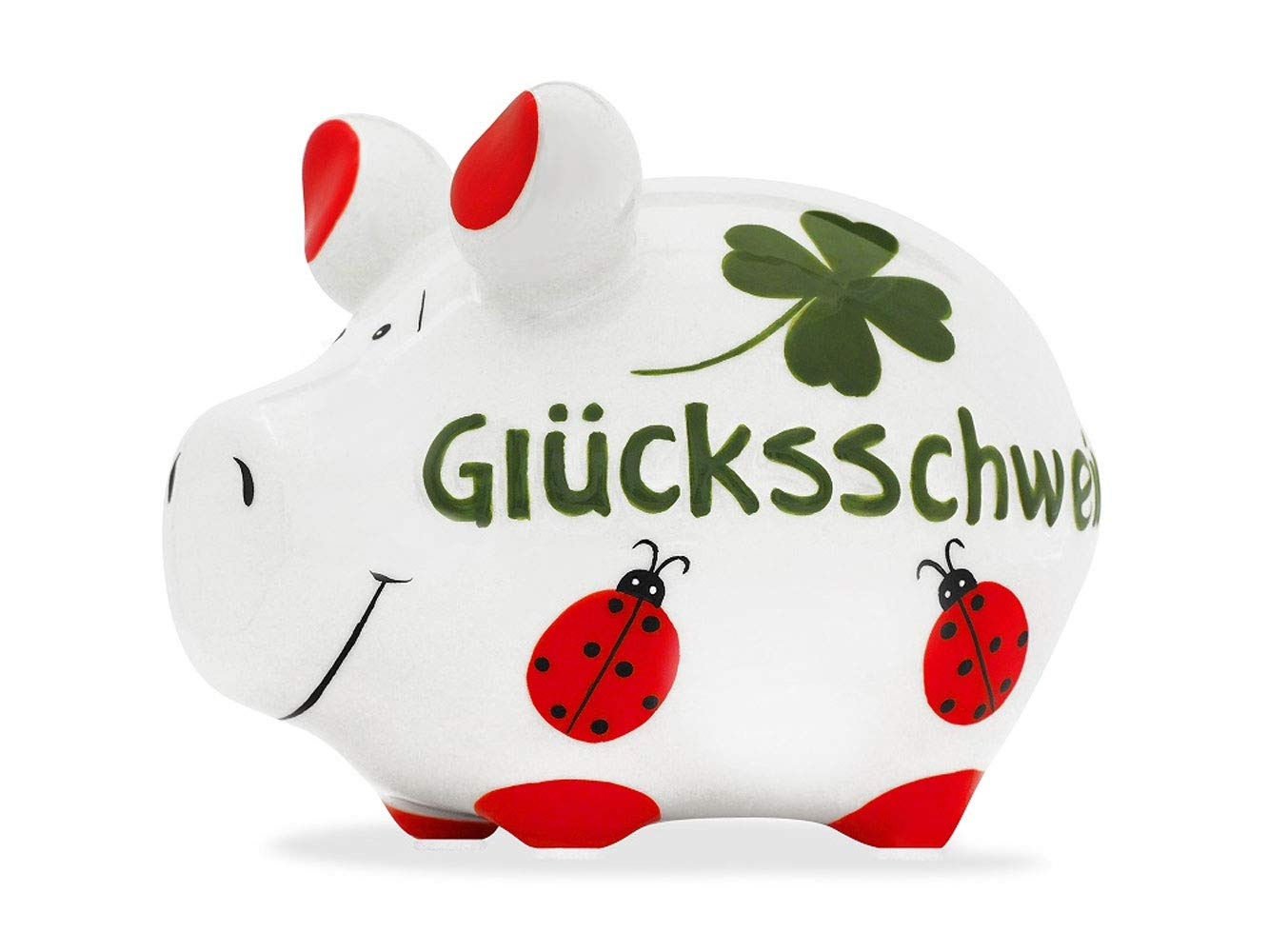 Riesen Mega Jumbo Sparschwein 31 cm x 26cm mit Kleeblatt und Marienkäfer