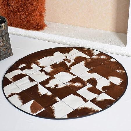 Home rugs Alfombra Redonda de Piel Sintética, Estampado de Animales Lujosas Alfombras de Cuero de Imitación de Piel de Vaca Alfombras (Color : A, Tamaño : 120cm Round): Amazon.es: Hogar