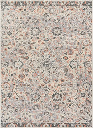 Well Woven Celestial Boho Medallion 4x6 (3'11'' x 5'3'') Area Rug Pink, Blue, Grey Distressed Traditional Vintage Floral Oriental (Cream Pink Floral)