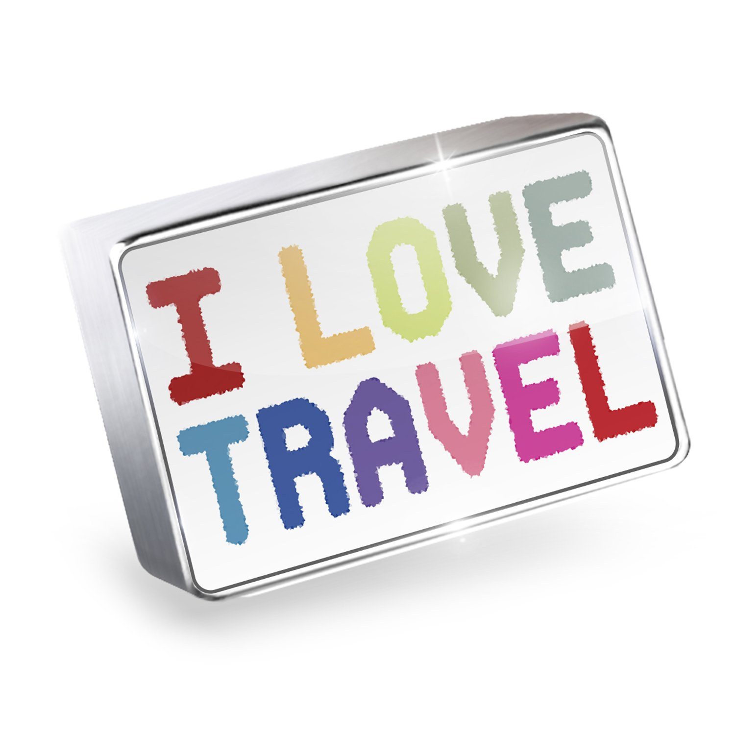 Floating Charm I Love Travel,Colorful Fits Glass Lockets, Neonblond