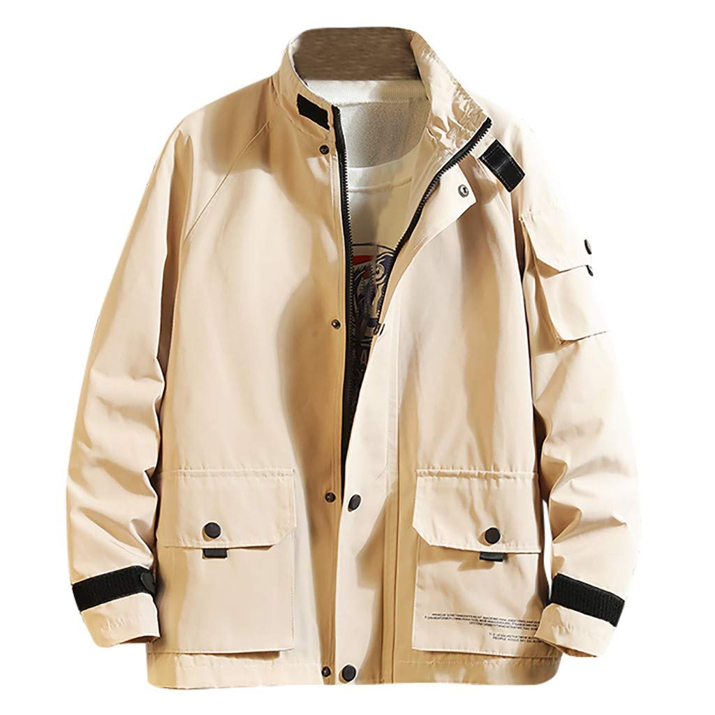 Men's Casual Cotton Military Jacket Zip-Up Multi-Pocket Windbreaker Bomber Jackets and Coats Beige
