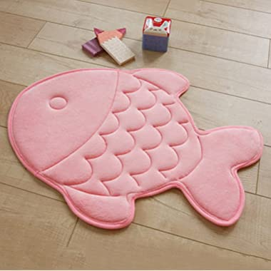 Yzakka Mildew Resistant Antibacterial Absorbent Quick Drying Bathroom Mat Soft Coral Velvet Non Slip Memory Foam Bath Mat Rugs for Kids Fashion Fish Design, 19 x 27 Inches, Pink