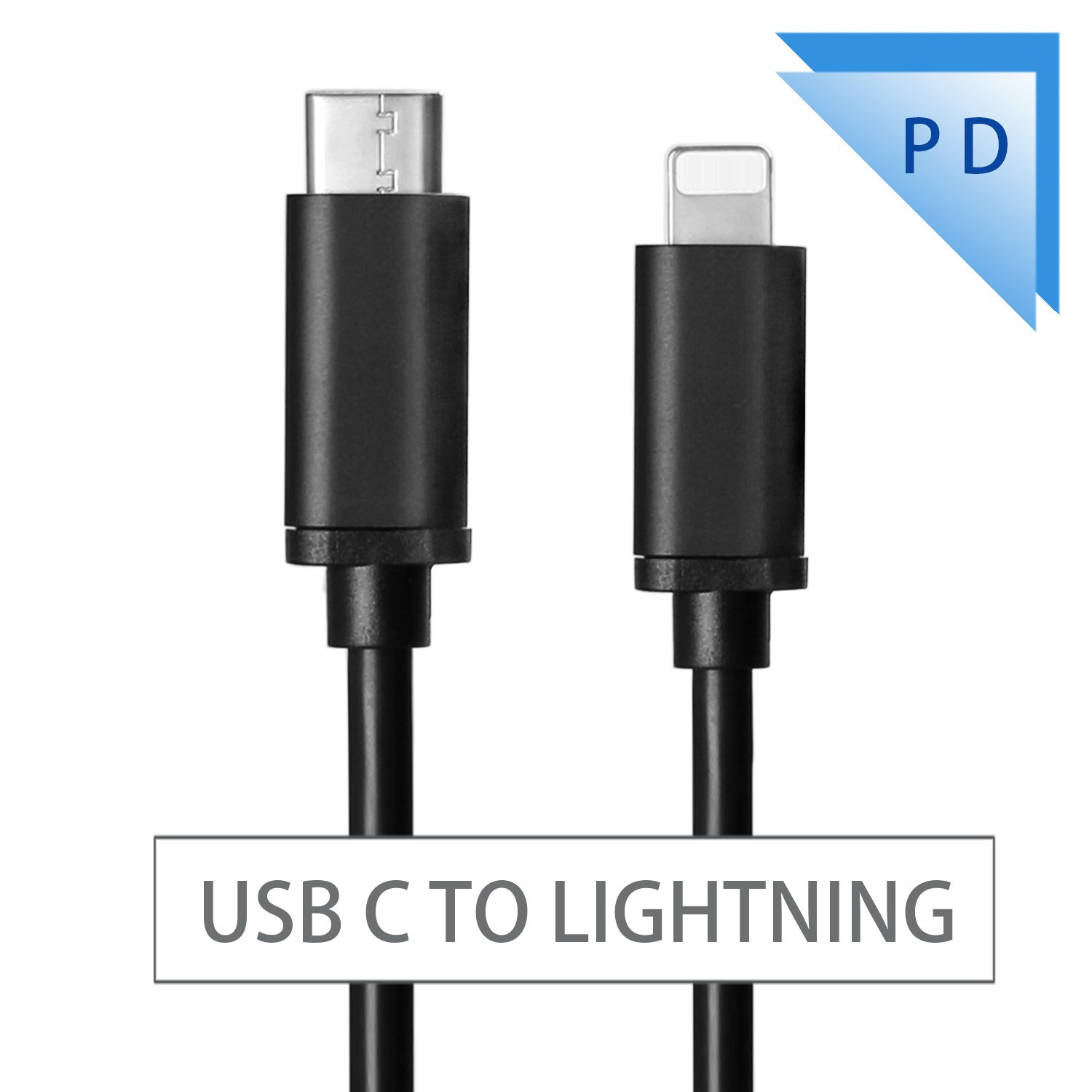 3.3FT USB C to Lightning Cable Fast Charging Sync & Data Cable Power Delivery PD for iPhone X/ 8/8 Plus iPad Connect to MacBook/Pro & Other 2.0 USB C Devices(USB C to Lightning Cable Black)