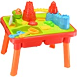 Inside Out Toys Sand and Water Play Table, 2 Compartment Design with Castle, Moat and Plenty of Accessories
