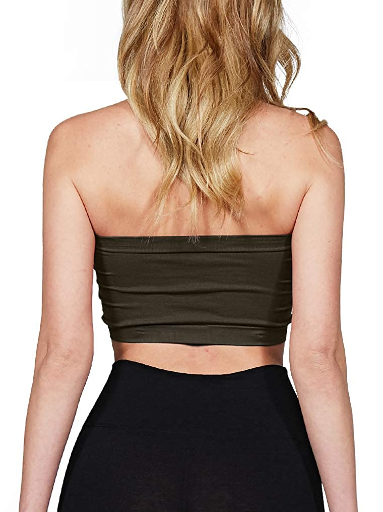 4eb16bedfa0 Luna Flower Women Seamless Strapless Tube Bandeau Bra Top with Removable  Pads (GBRW023) at Amazon Women s Clothing store