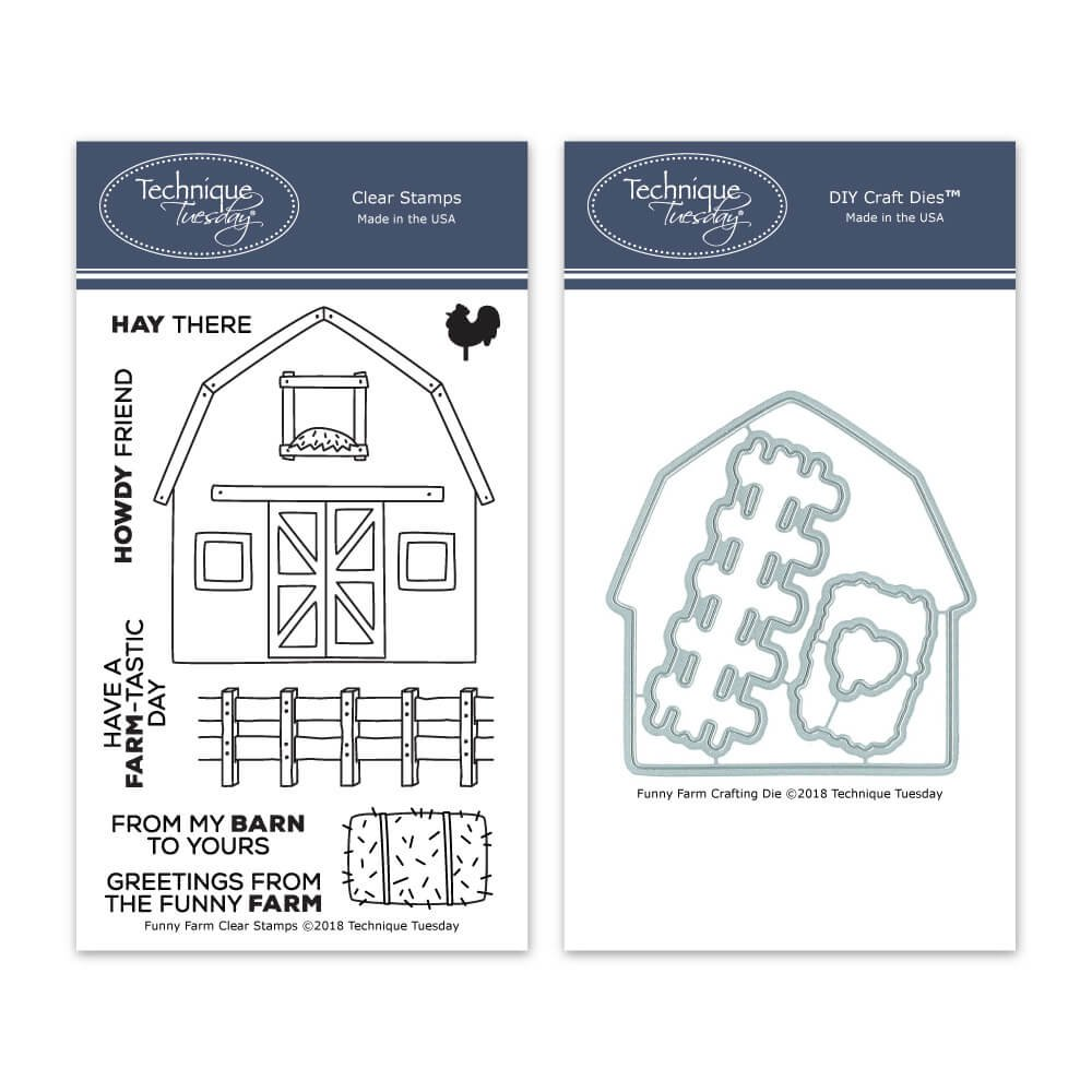 Funny Farm Clear Stamps with Matching Metal Dies | Clear Rubber Stamps | Photopolymer Stamps | Die Cuts | Craft Dies | Card Making Supplies