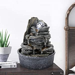 BBabe Rockery Indoor Water Fountain, Zen Meditation Tabletop Fountain with LED Lights & Crystal Ball for Home Office Bedroom (9 4/5