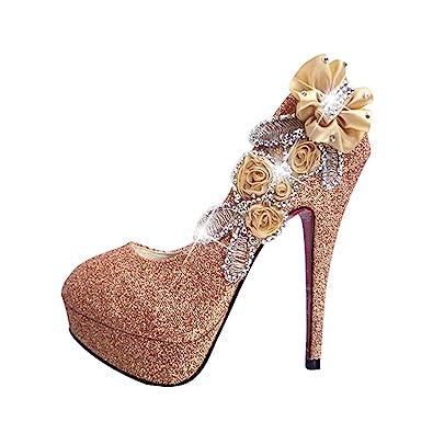 Amazon.com: pit4tk Women Platform Bow-Knot High Heels Wedding Shoes ...