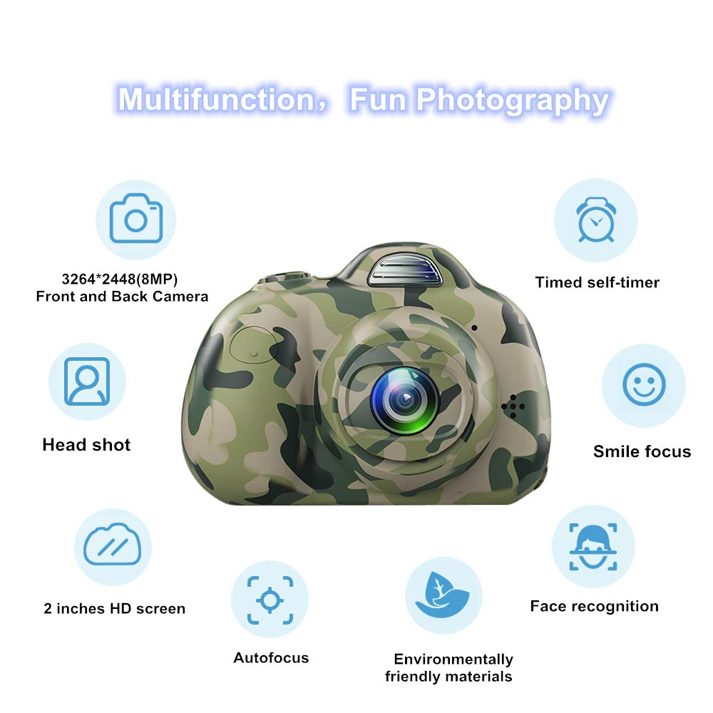 PerfectPromise Kids Camera,Great Gift for 3-10 Years Old Boys Girls,Dual 8MP HD Video Toy Camera & Camcorder with Soft Silicone Shell for Child Outdoor Play --Camo (32G TF Card Included) by PerfectPromise (Image #2)