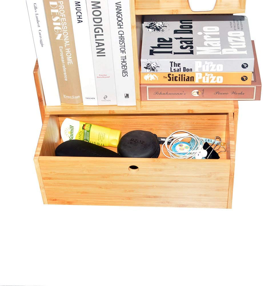 Wooden Desktop Shelf for Office /& Kitchen Countertop Multipurpose Drawers /& Shelves Wood Bookshelf with Storage Drawer KIIMEEY Bamboo Desk Organizer with Tray Tabletop Organizers